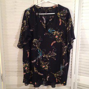 Worthington 3X Black Floral Summer Blouse Top